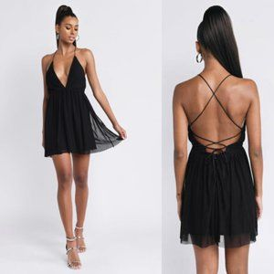 TOBI Always Around Pleated Black Skater Dress